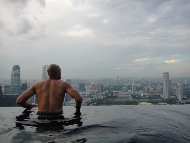 Showing Dominique the High life in Singapore.