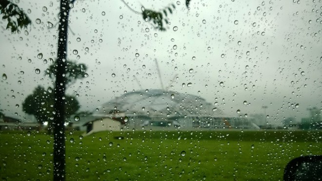 Singapore Sports Hub, rainy day.